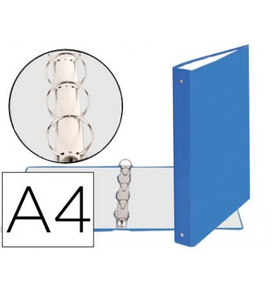 WALLET 4-RING 30MM ROUND EXACOMPTA DIN A4 CARTON LINED LIGHT BLUE