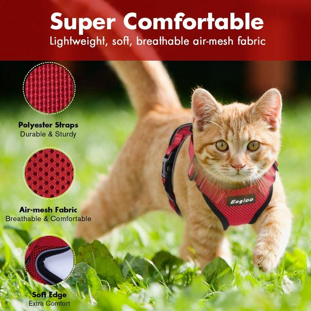 Escape Proof Cat Vest Harness and Car Seat Belt Adapter Adjustable Reflective Harness Soft Mesh Vest Harness for Kitten Puppy 3