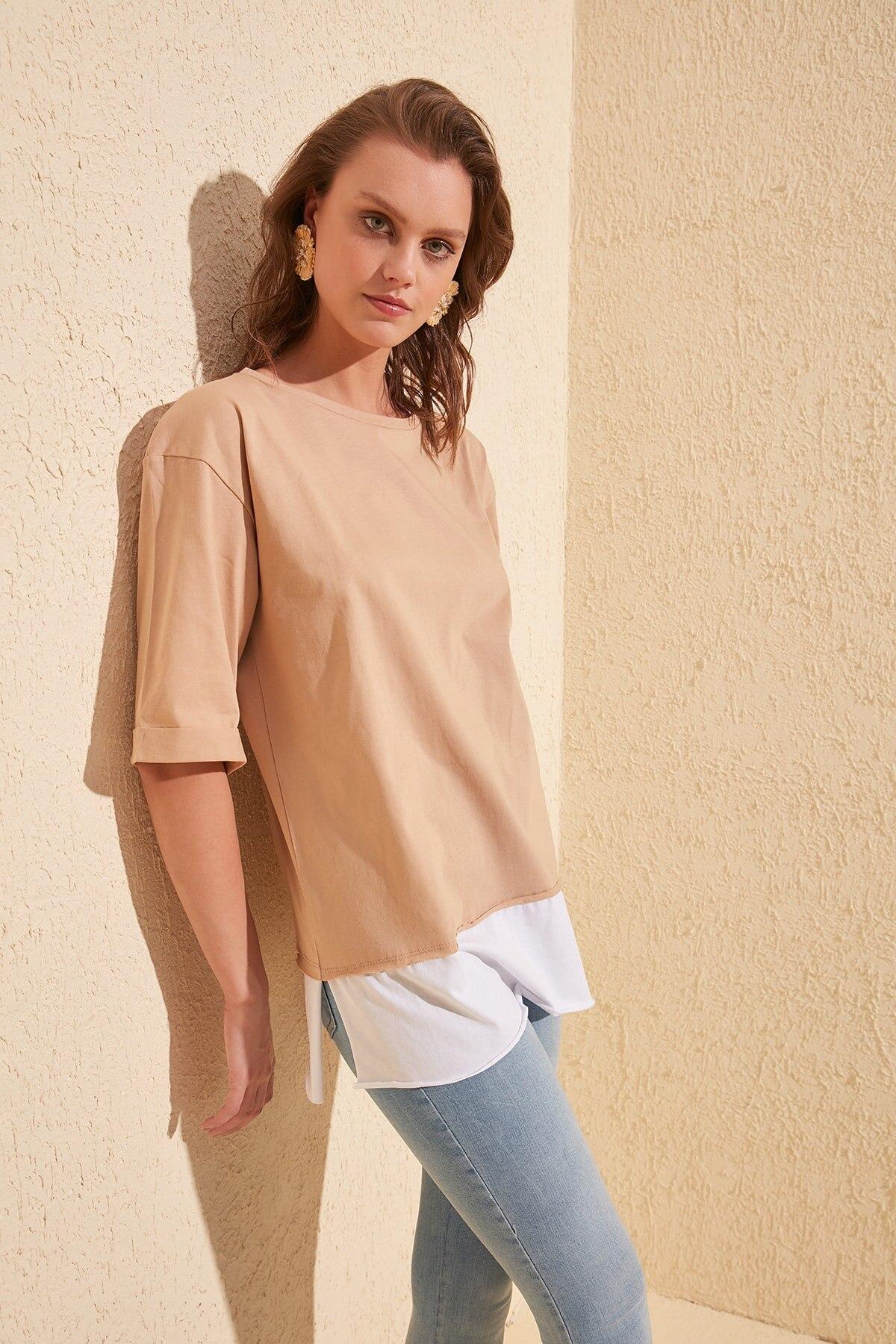 Trendyol Piece Detailed Boyfriend Knitted T-Shirt TWOSS20TS0858