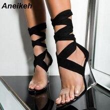 Aneikeh/Модная пикантная женская обувь; босоножки из ПВХ на танкетке с открытым носком и прозрачным каблуком; сандалии-гладиаторы с перекрестными ремешками; туфли-лодочки на шнуровке