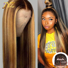 Highlight Wigs Hair-Wig T-Part Human-Hair Lace-Front Pre-Plucked Balayage-Color Ombre