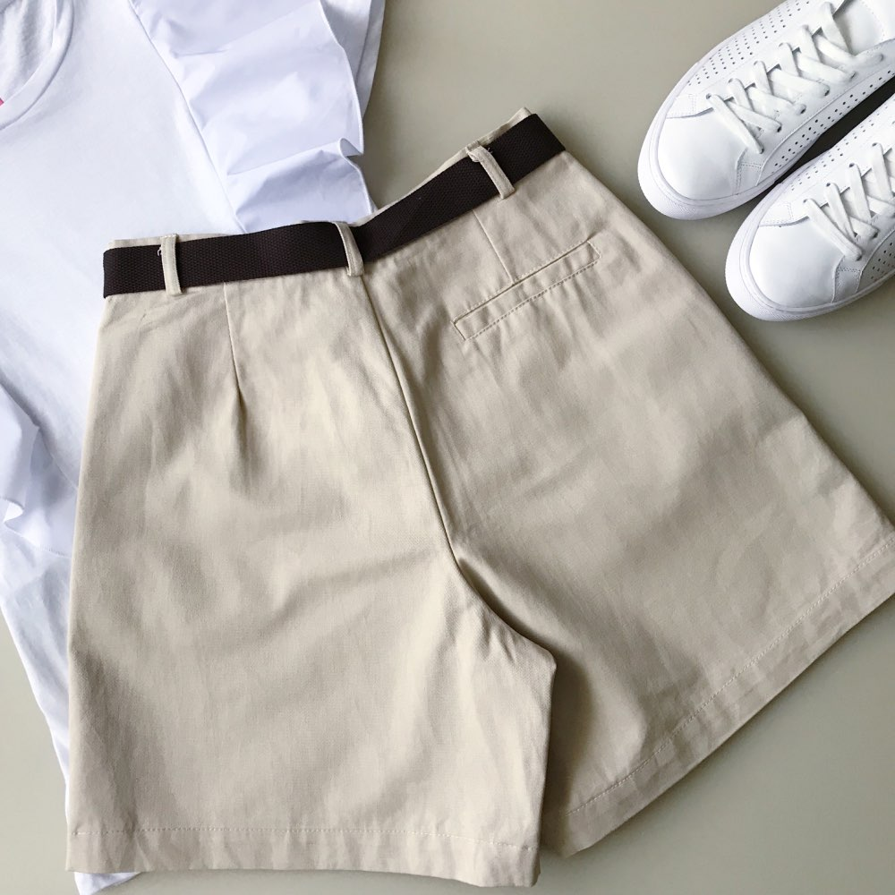 All Match 4 Solid Color Sashes Casual Women Shorts A Line High Waist Slim Summer Shorts Feminino Chic S Xxl Ladies Bottom photo review