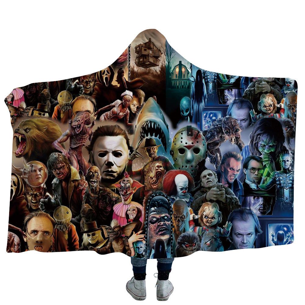 Anime Movie Horror Set Printed Plush Hooded Blanket For Adults Kid Warm Home Sofa Wearable Double layer Fleece Throw Blankets|Throw| |  - title=