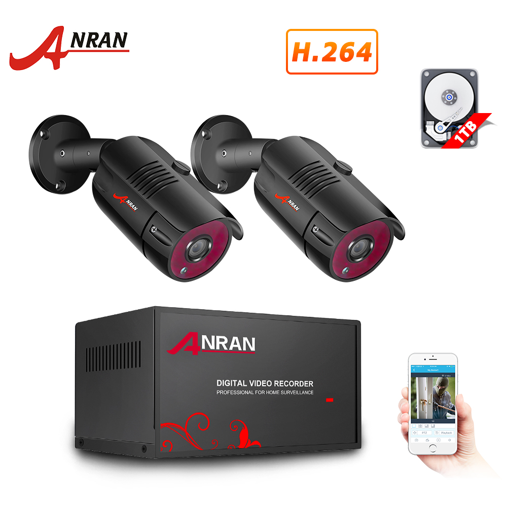 ANRAN AHD DVR CCTV Security System 1080P IR Night Vision AHD Camera System Indoor&Outdoor 4CH DVR Video Surveillance System