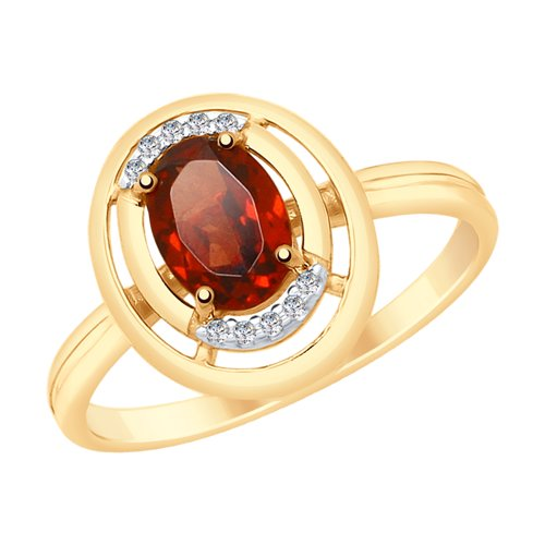 SOKOLOV Ring Gold With Garnet And Cubic Zirkonia