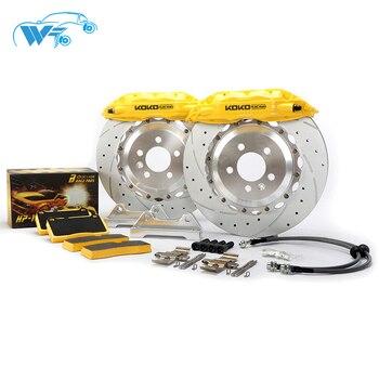 KOKO RAING modify cars brake kit 4 pot brake caliper 65mm brake line with j hook brake rotors designer for  Mercedes w124 E500