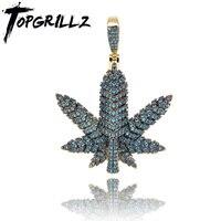 TOPGRILLZ Baum Blatt Halskette Für Frauen Männer Kleine Unkraut Kraut Maple Leaf Anhänger Halsketten Anlage Cubic Zirkon Hip Hop Schmuck