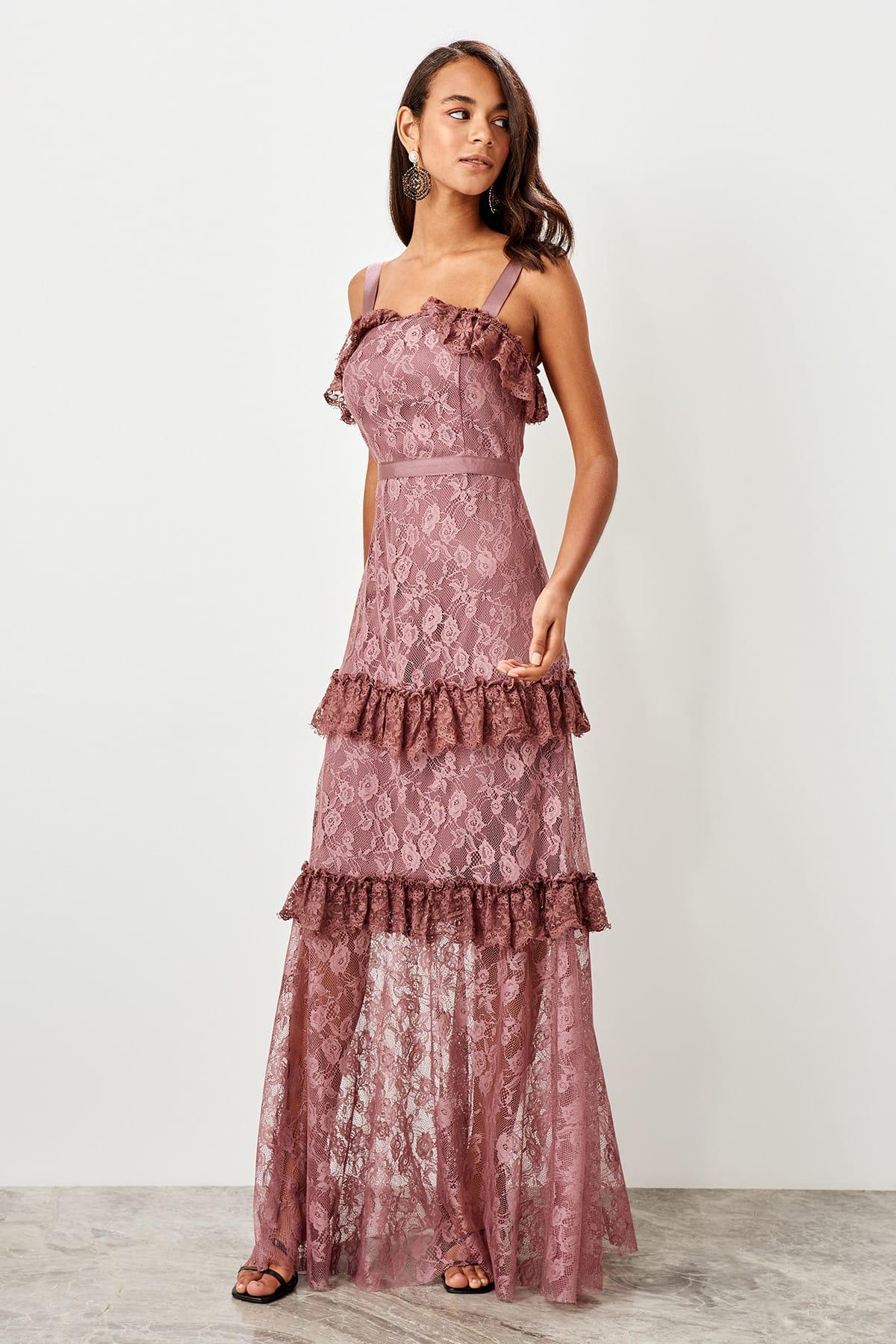 Trendyol Lace Detailed Evening Dress TPRSS19BB0504