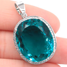 Luxury Top Big Oval Gemstone Rich Blue Aquamarine Gift For Sister Silver Pendant 25x20mm