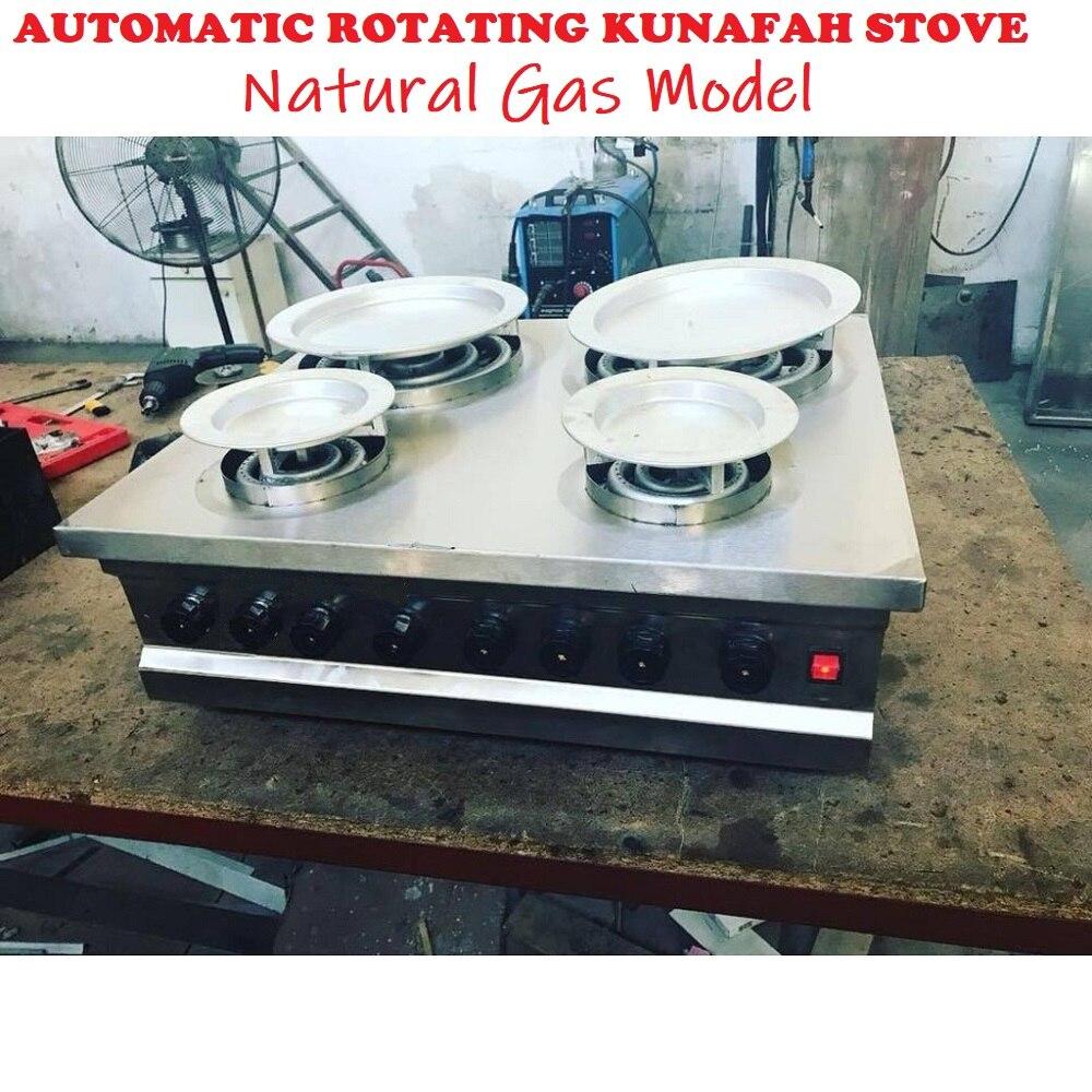 AUTO ROTATION Kunafa Konafa Kanafeh Kunafah Kunefe Machine  2+2 Countertop Quarry Stove Works With NATURAL GAS