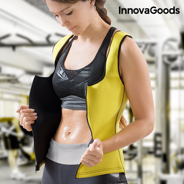 InnovaGoods Sauna Effect Sports Vest Women Fitness Promoting The Elimination Of Fat And Toxins Breathable Fabric Slimming Vest