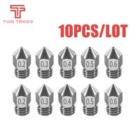 10 Uds 3D Reprap impresora i3 MK8 boquilla de acero inoxidable 0,2/0,3/0,4/0,5mm MK8 extrusor cabezal de impresión para 1,75 MM ABS PLA impresora
