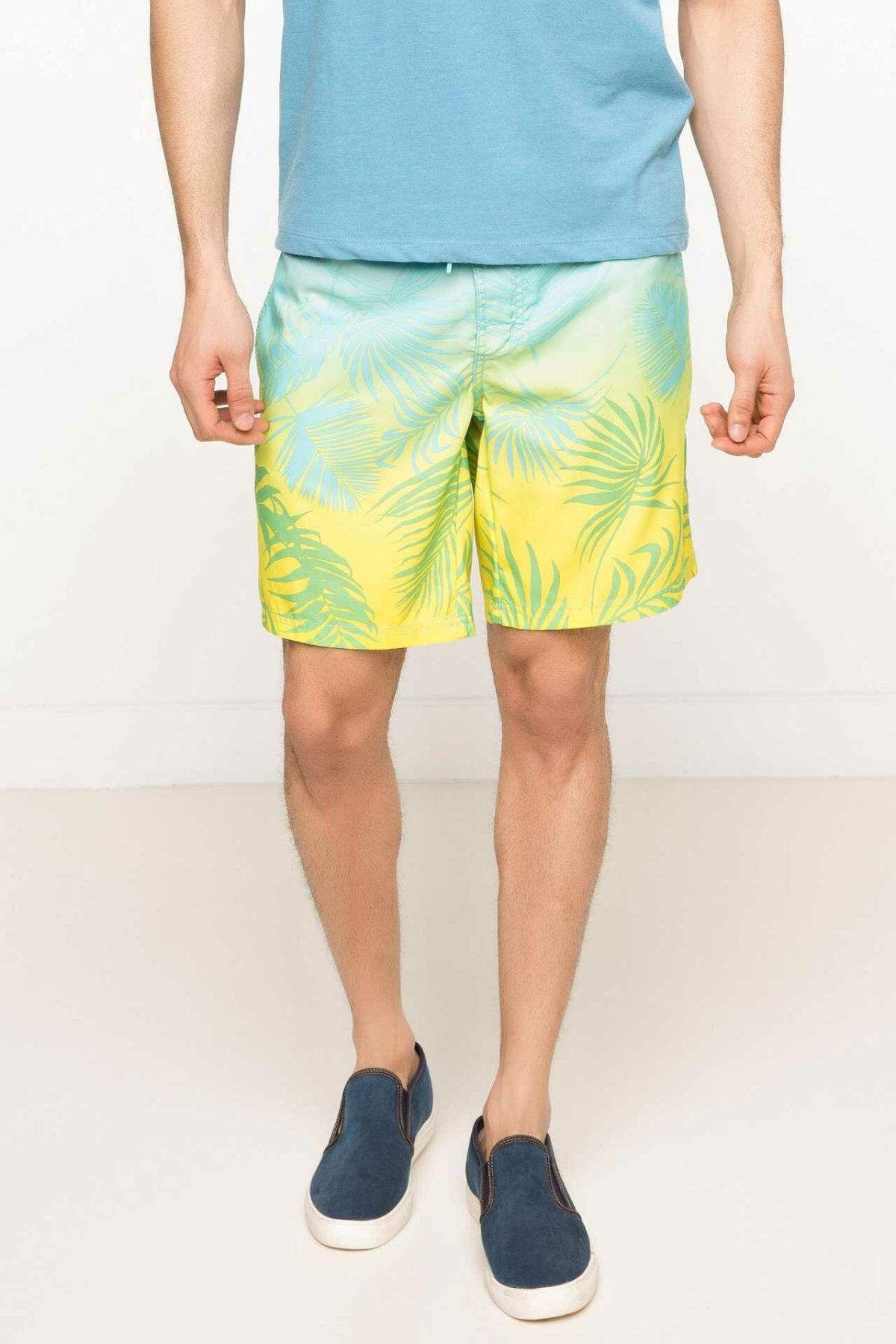 DeFacto Man Fashion Swimming Short Male Casual Beach Print Pattern Shorts Beach Swim Short Pants Summer - G7326AZ17HS