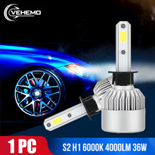 Vehemo COB H1 36W LED Headlight LED Bulbs Car Car Styling Super Bright Front Lamp Headlight Fog Light Universal H7 High Power(China)