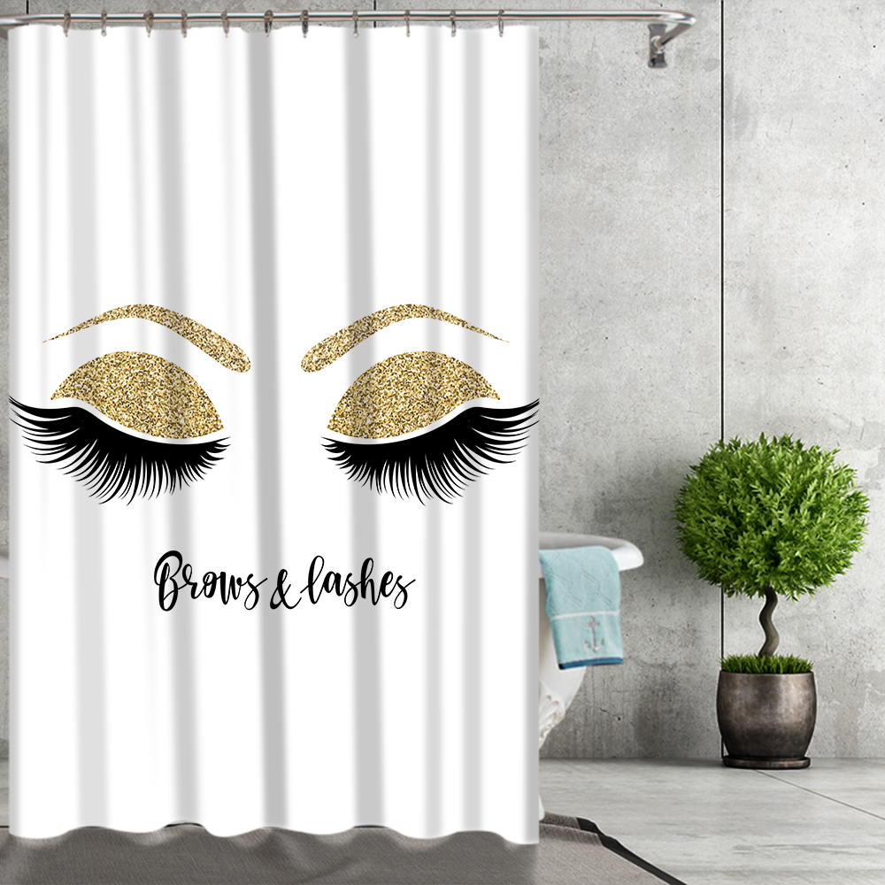 Eyelashes Print Bathroom Curtain Set With 12PCS Plastic Hooks For With Toilet Seat Cover 5