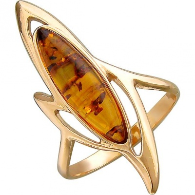Esthete Ring With 1 Amber Made Of Silver With Gilding