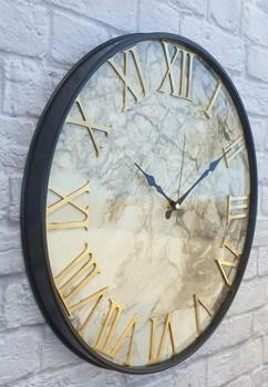 Markakanvas metalowy marmurowy wzór złoty (złoty) kolorowy zegar ścienny 50 cm tanie i dobre opinie TR (pochodzenie)