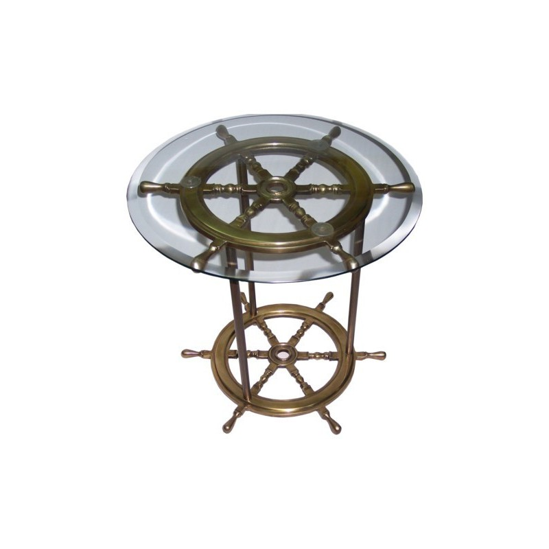 Brass Rudder Wheel Table With Glass 50x50cm