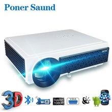 Poner Saund проектор 3D Android 6,0 видео в формате Full HD проектор умный дом Поддержка 1920*1080P проектор для домашнего Театр Портативный светодиодный прое...