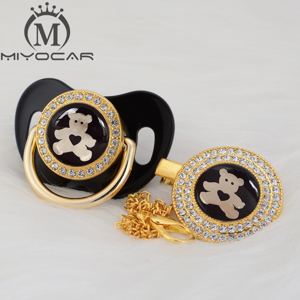 MIYOCAR Black Lovely Bear Gold Bling Pacifier And Pacifier Clip BPA Free Dummy Bling Unique Design GBEAR