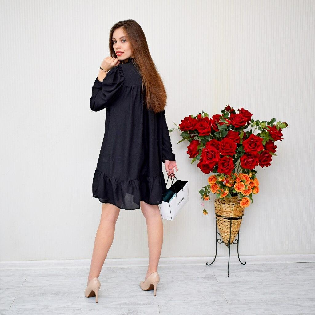 Hot 2019 autumn new fashion women's temperament commuter puff sleeve small high collar natural A word knee Chiffon dress reviews №3 342818