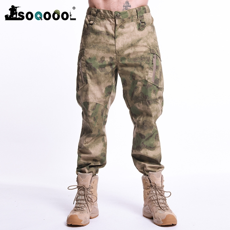 Men Outdoor Casual Hiking Cargo Pants SWAT Tactical Military Sweatpants Camouflage Army Fashion Fighting Multi-pocket Trousers