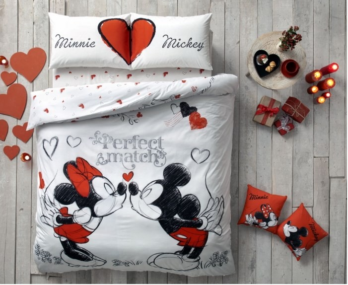 100% Cotton Licensed Minnie & Mickey Perfect Match Double Duvet Bedding Duvet Cover Set  For Kids Children Toddler, Boy Or Girl