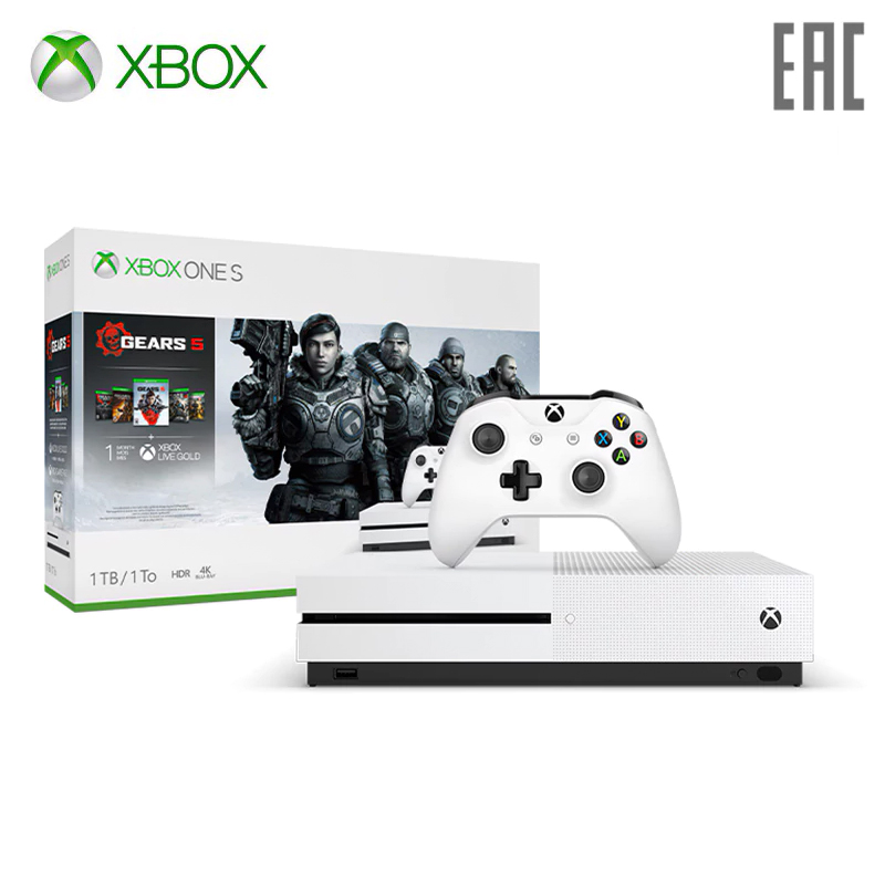 Game Console Xbox One S 1 TB With Games Gears 5 + Ultimate Edition Gears Of War + Gears Of War 2, 3 And 4