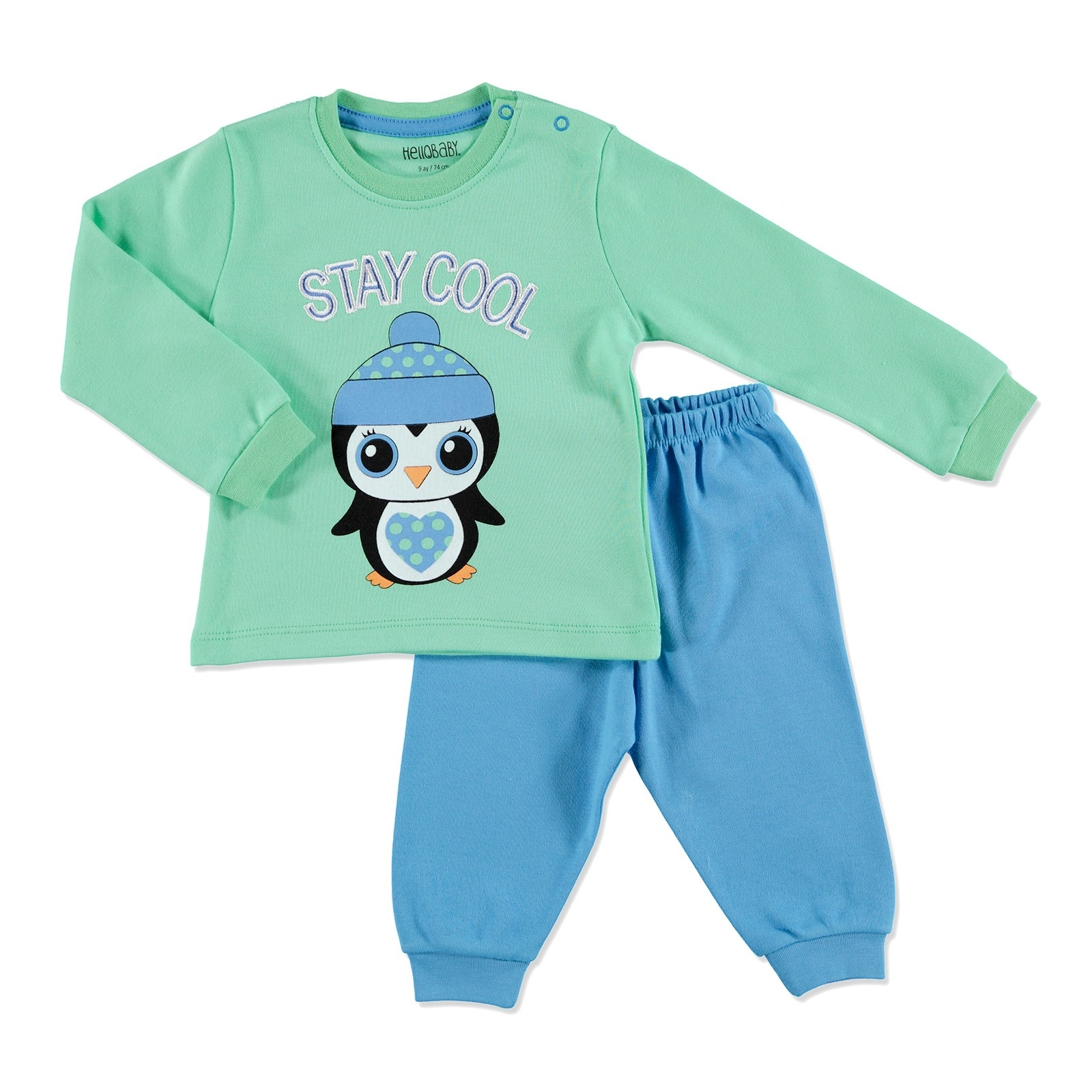 Ebebek HelloBaby Winter Baby Basic Embroidered Pyjama Set