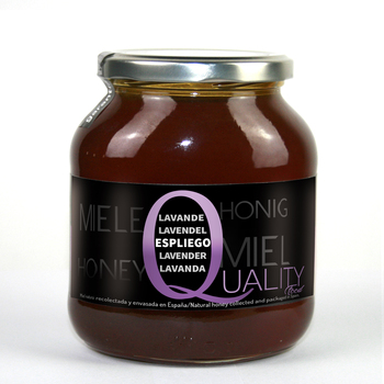 Pure Honey honeybee 100%. Raw honey lavender. 1Kg. Origin Spain. No pasteurizar/warm. High quality. CRYSTAL jar.
