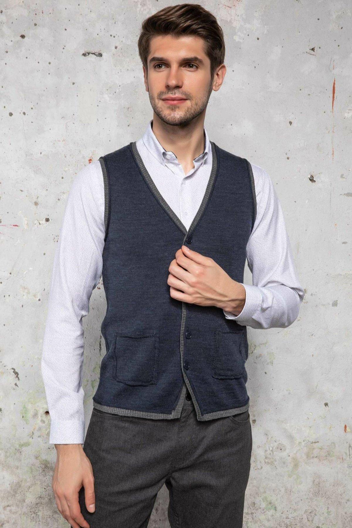 DeFacto Casual V-neck Knitted Man Vest Single-breasted Slim Sleeveless Garment Male Leisure Fashion Autumn - J4683AZ18WN
