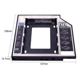 "Image 2 - kphrtek Second 2nd HDD Caddy 12.7mm 2.5"" SATA 3.0 SSD Case Hard Drive Enclosure Adapter + LED for Laptop CD ROM DVD ROM Optibay"
