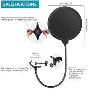 Image 5 - Neewer NB 35 Mikrofon Scissor Arm Stehen Mic Clip Halter und Tisch Montage Clamp & NW Filter Windschutz Schild & Metall mount Kit