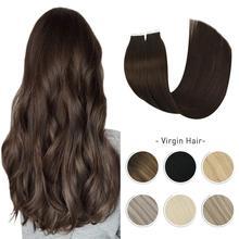 Bakire saç bandı uzantıları gerçek insan saçı 10A sınıf ipeksi düz dikişsiz görünmez yapışkanlı tutkal saç çift çekilmiş