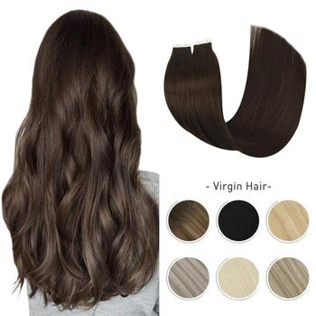 Virgin Hair Tape in Extensions Real Human 10A Grade Silky Straight  Seamless Invisible Adhesive Glue on Hiar Doubld Drawn - discount item  30% OFF Human Hair (For White)