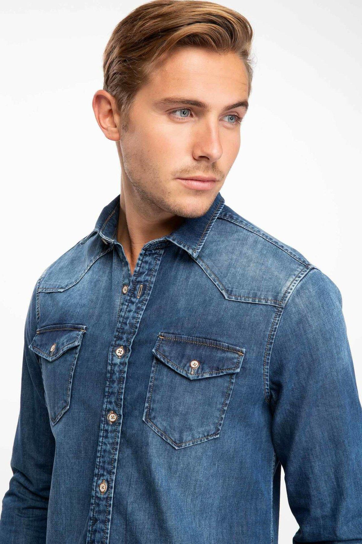 DeFacto Autumn Fashion Man Lapel Long Sleeve Jeans Shirt Men Casual Simple Solid Blouser Male Denim Shirts - J3161AZ18WN