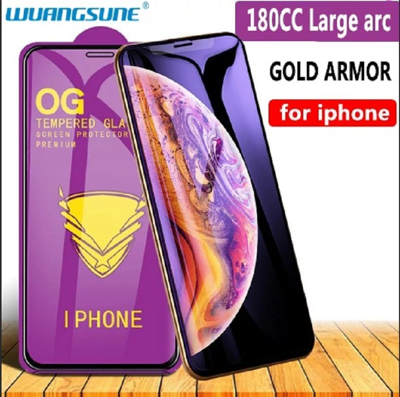Armadura dorada protectora de vidrio templado para iPhone
