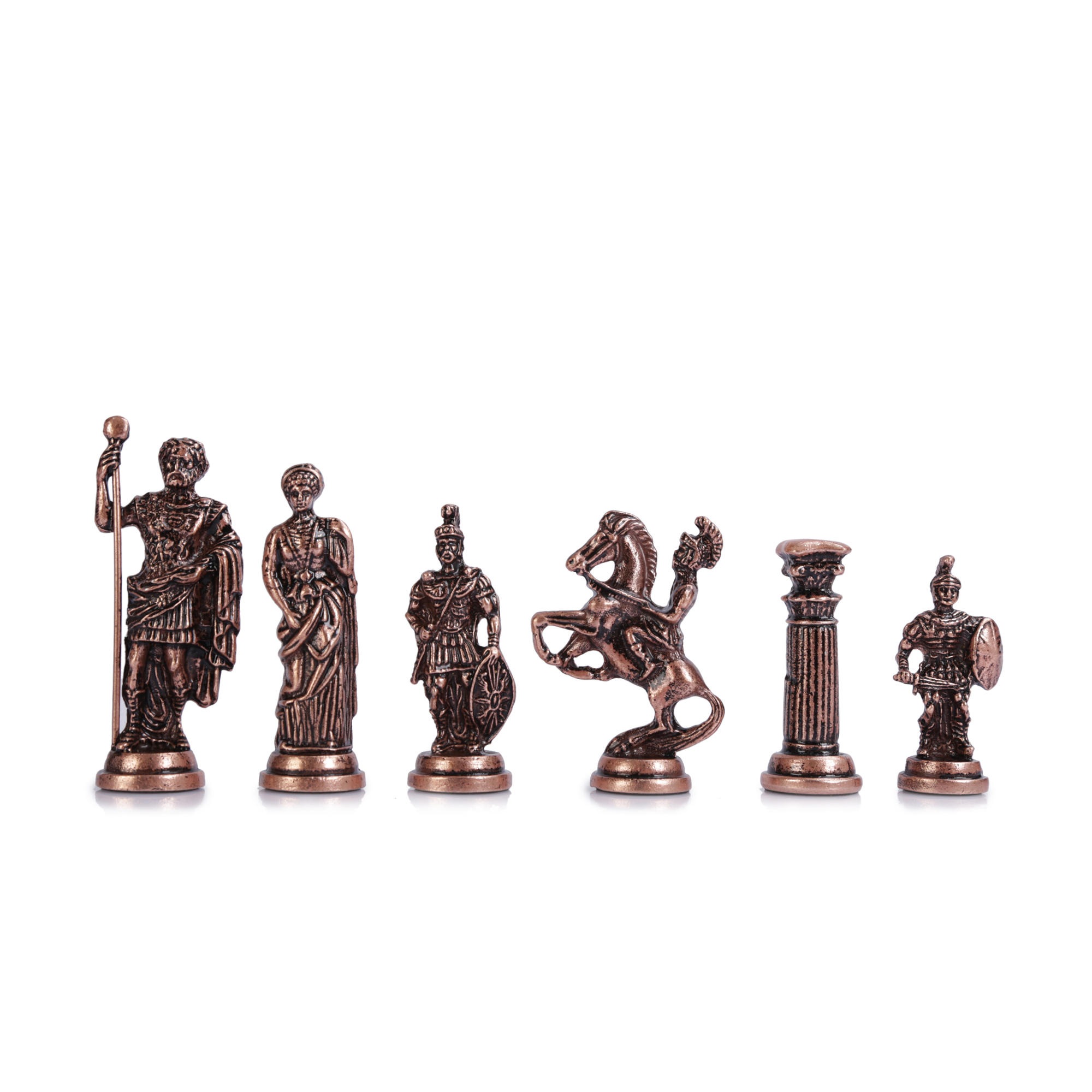 (Only Chess Pieces) Historical Antique Copper Rome Figures Handmade Metal Chess Pieces Big Size 11 Cm (Board Is Not Included)