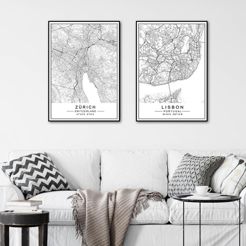 Minimalist şehir LISBON ZURICH harita seyahat tuval boyama siyah beyaz duvar sanatı resimleri posterler baskılar oturma odası ev dekor için