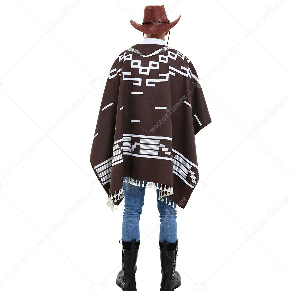 Mens Poncho Costume Wandering Gunman Cowboy Clint Eastwood Fancy Dress Outfit