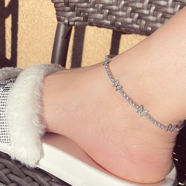New Luxury Rhinestone Butterfly Anklet Bracelet Wholesale for Women Indian Barefoot Ankle Beach Accessories Tennis Anklet Chain 6