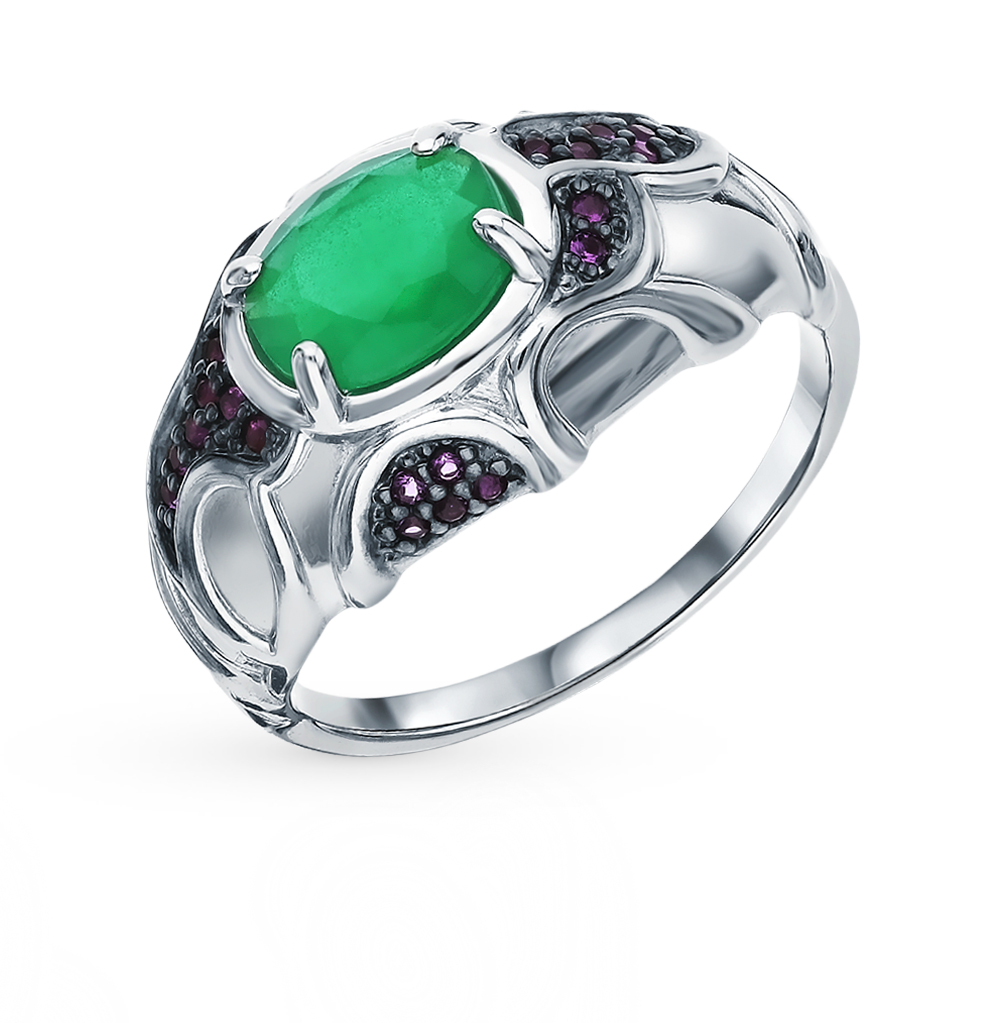 Silver Ring With Cubic Zirconia And Agate Sunlight Sample 925