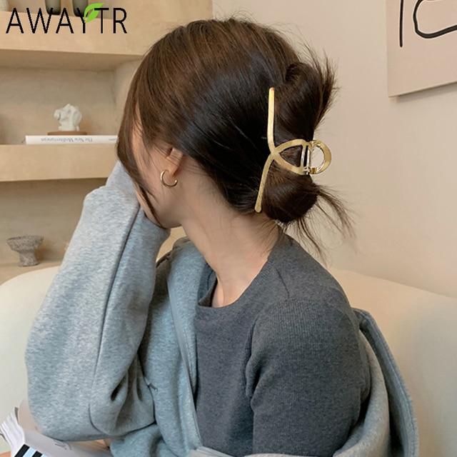AWAYTR Women Barrettes Metal Hair Claws Hair Accessories Hairclips Hairpins Ladies Hairgrip Headwear Girls Ornaments Crab Bands 1