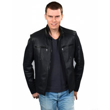 Короткая модель мужская куртка из натуральной кожи Высокое качество
