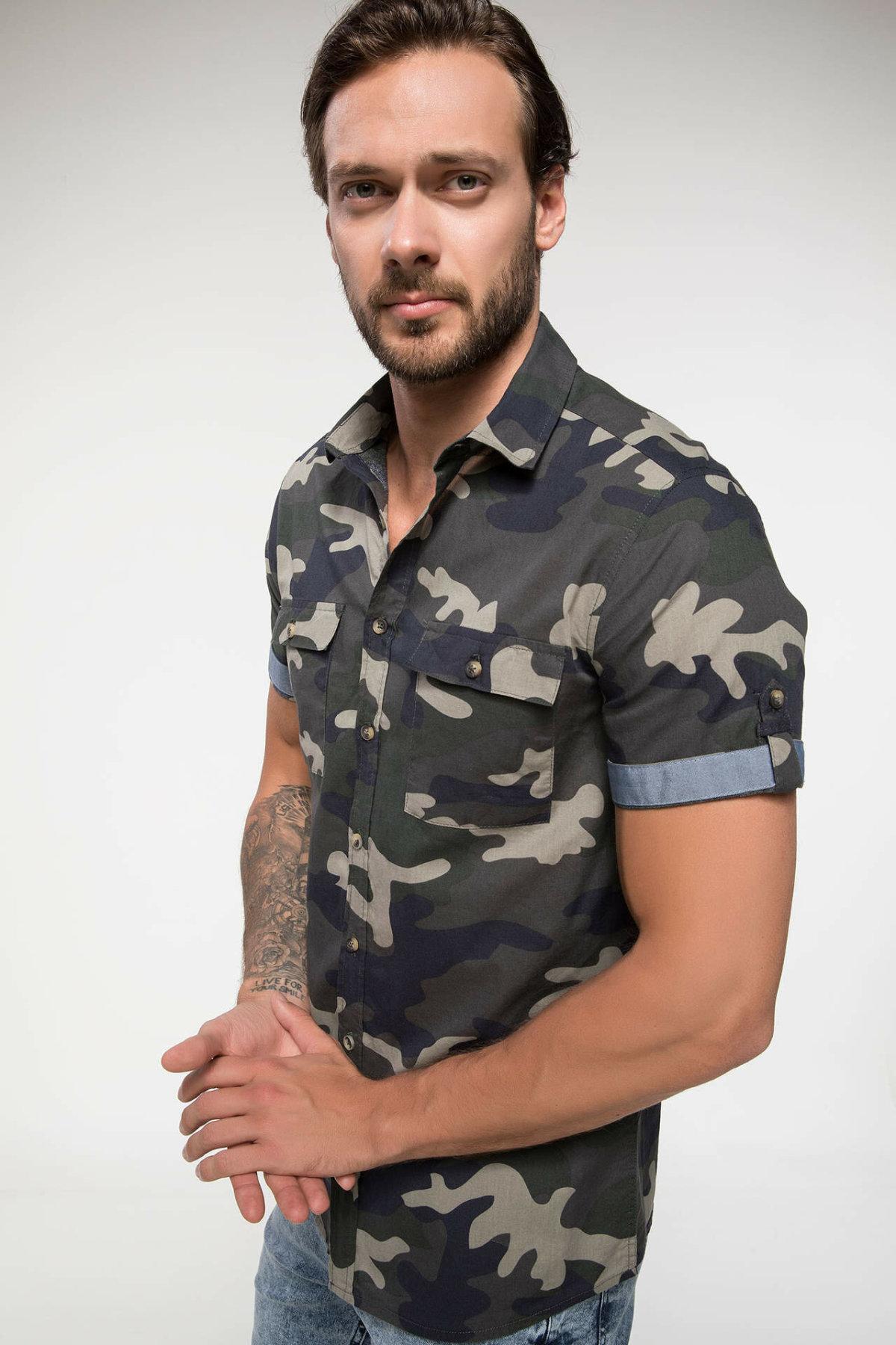 DeFacto Men Fashion Camouflage Pattern Stand Collar Shirts Short Sleeve Simple Shirts Men Shirt Tops- I9670AZ18SM