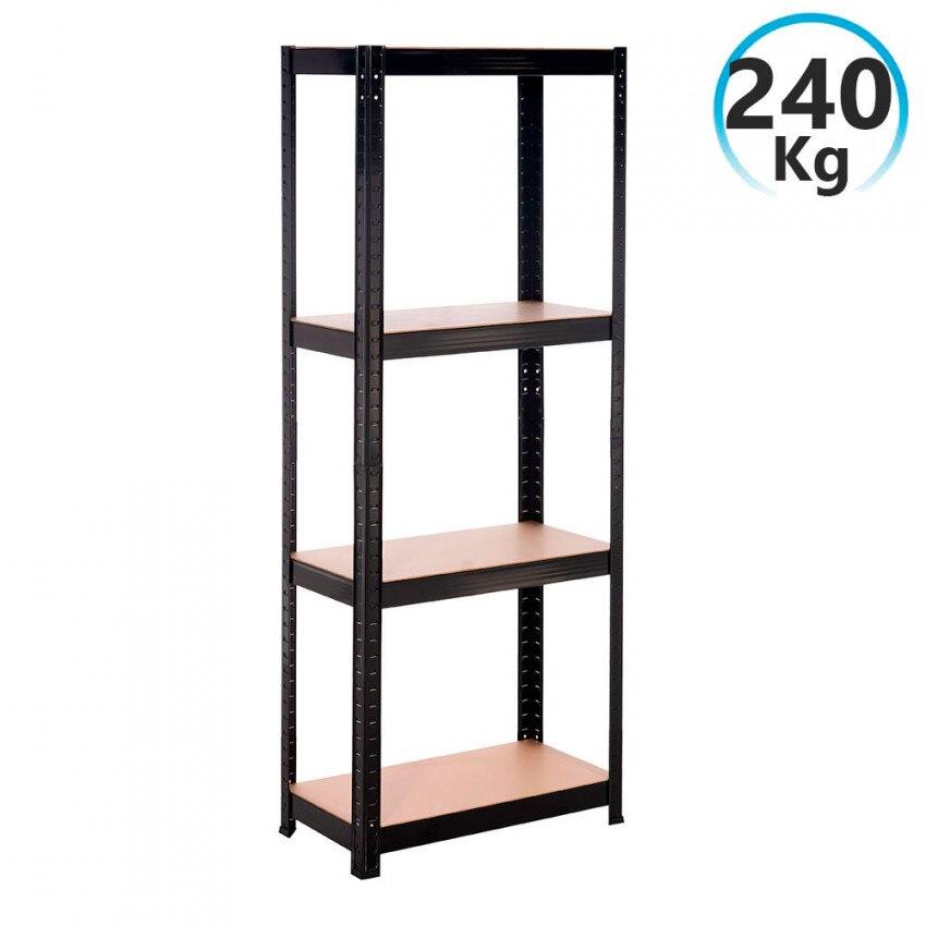 Bookshelf Metal Black With 4 Shelves Adjustable 148x60x30cm 240Kg RDM