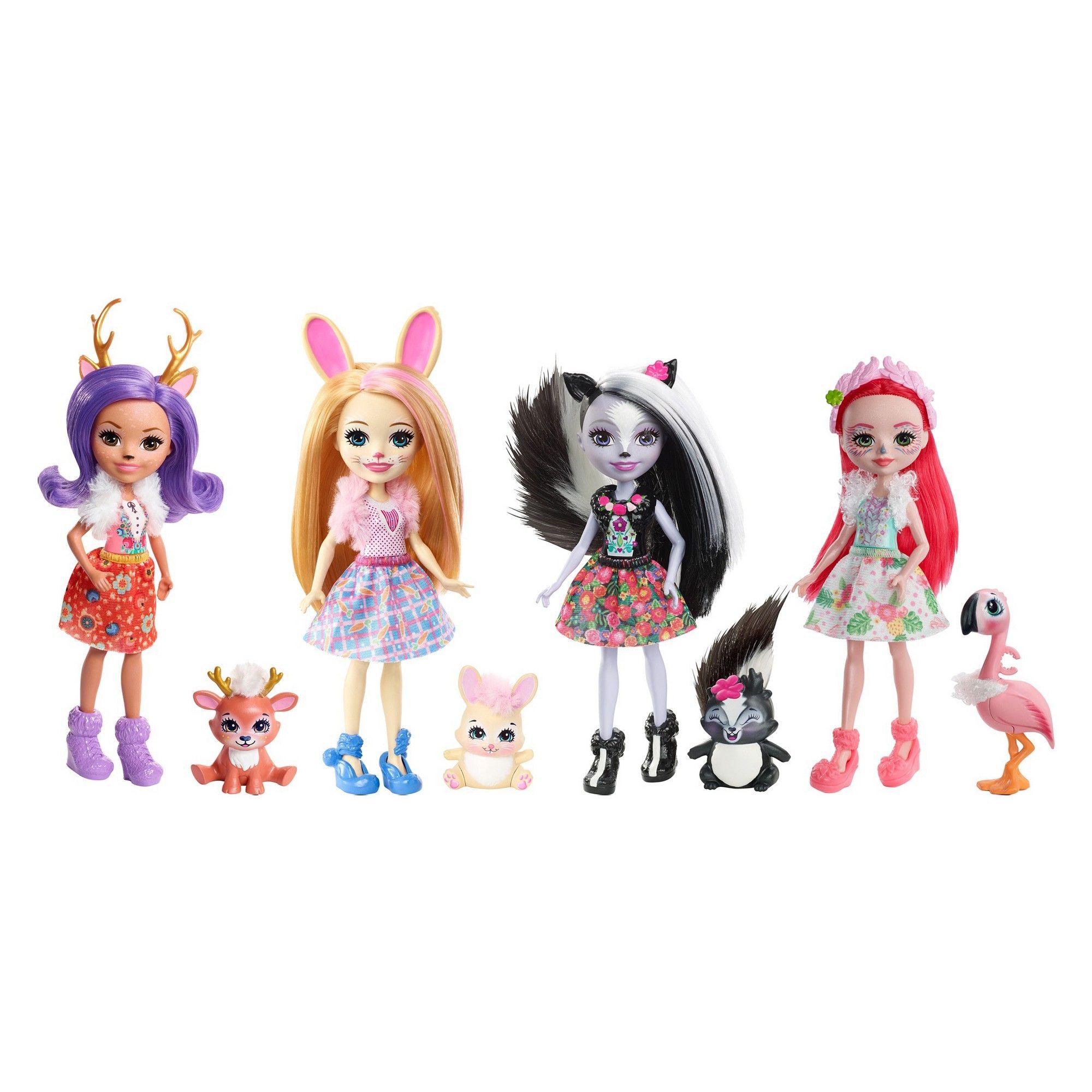 Set Of 4-way Dolls Enchantimals Doll With зверюшкой