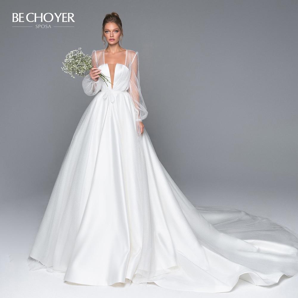 Elegant 2 In 1 Satin A-Line Wedding Dress Illusion Court Train Princess BE CHOYER EL01 Bride Gown Customized Vestido De Noiva