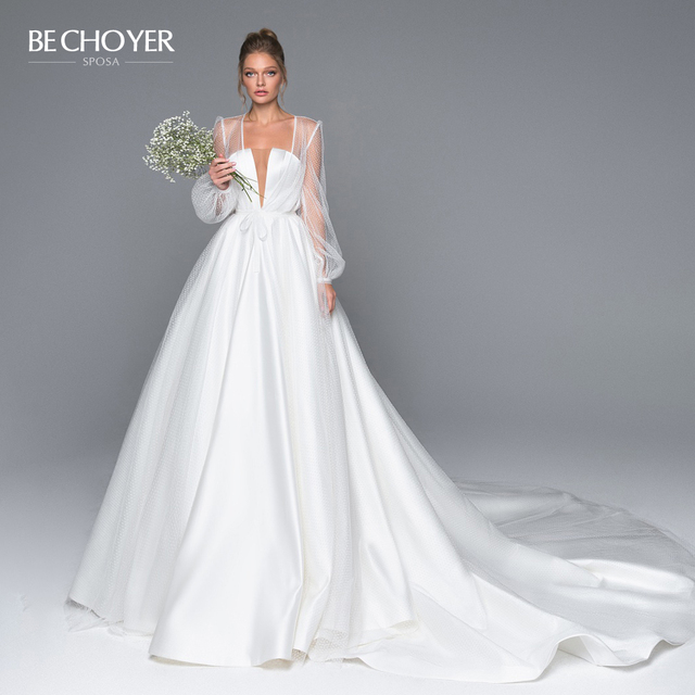 Elegant 2 In 1 Satin A Line Wedding Dress Illusion Court Train Princess BE CHOYER EL01 Bride Gown Customized Vestido de Noiva