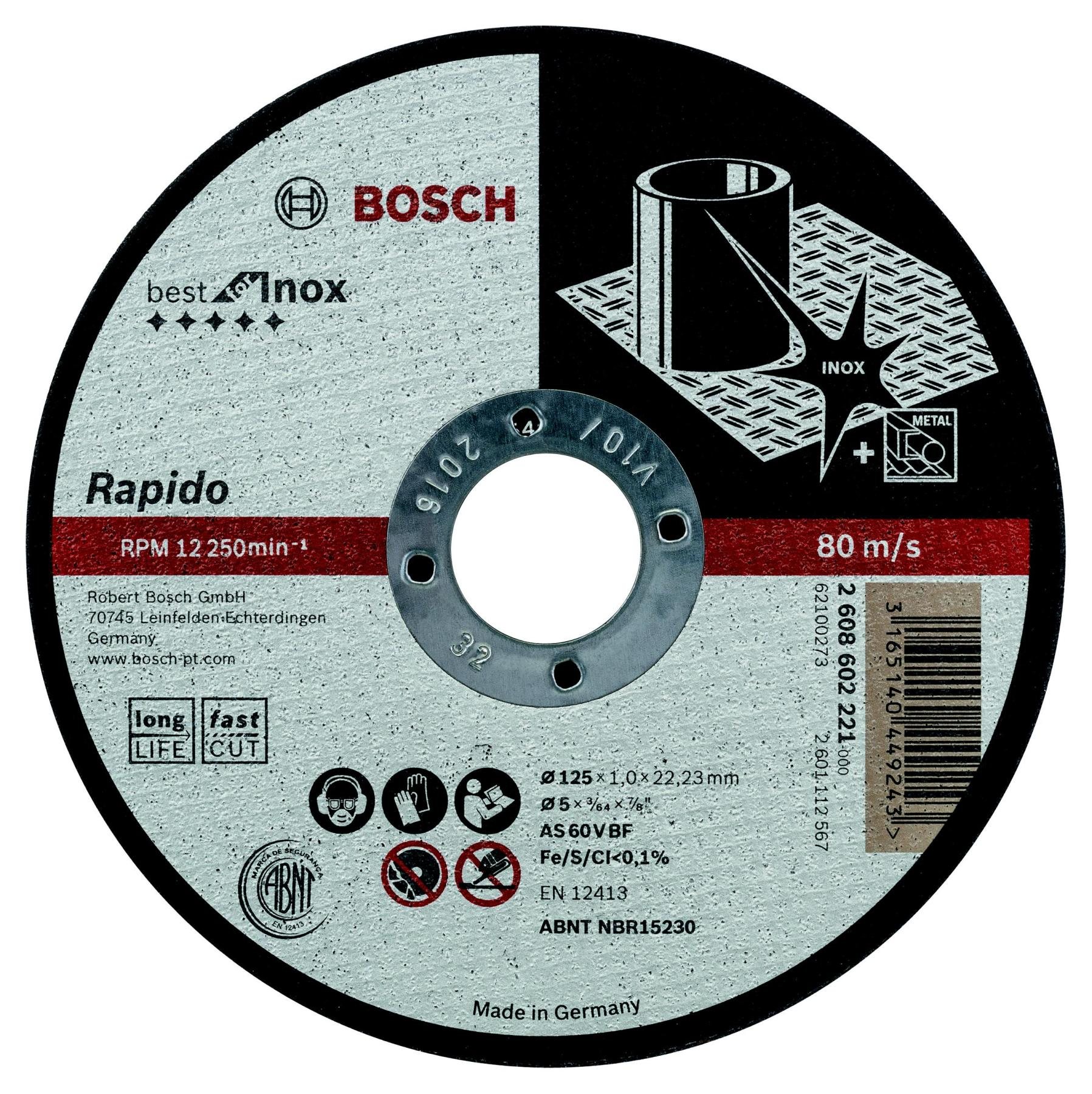Circle Cutting BOSCH 125х1х22 Best For Inox Rapido (2.608.602.221)